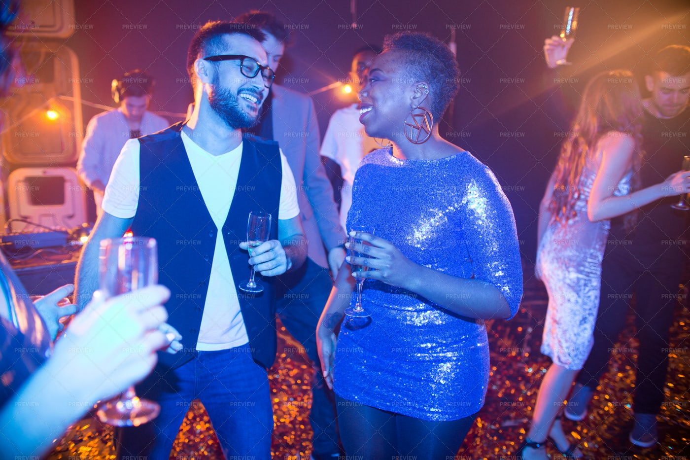 Trendy People Chatting At Nightclub...: Stock Photos