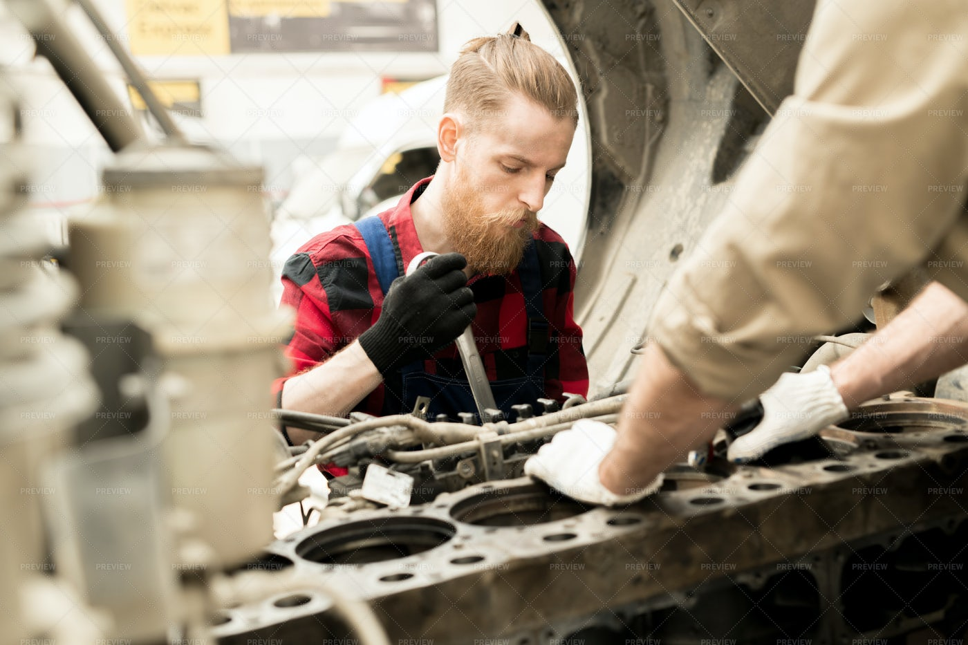 Man Working In Car Service: Stock Photos