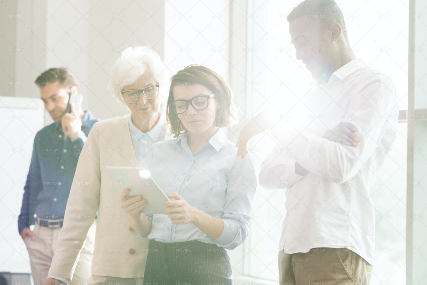 Concentrated Business Team Working...: Stock Photos