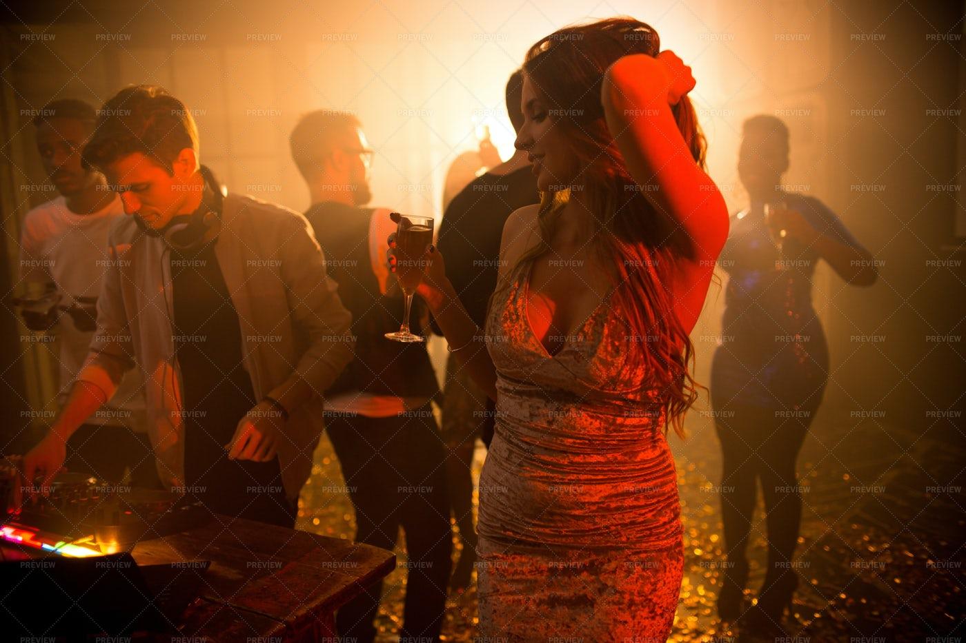 Beautiful Woman In Dim Club: Stock Photos