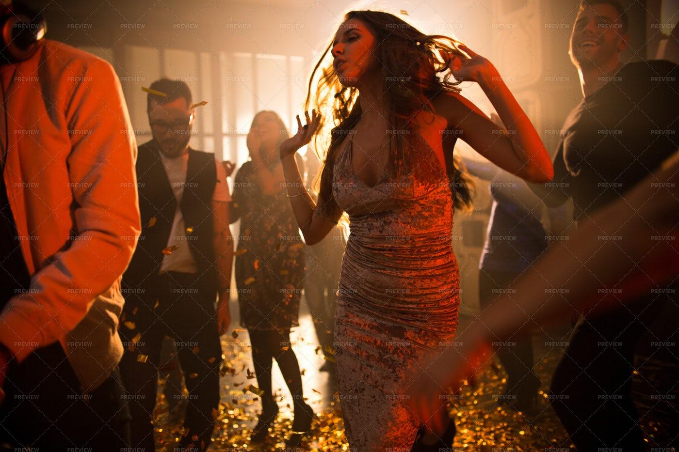 Young Woman Enjoying Music In Club: Stock Photos