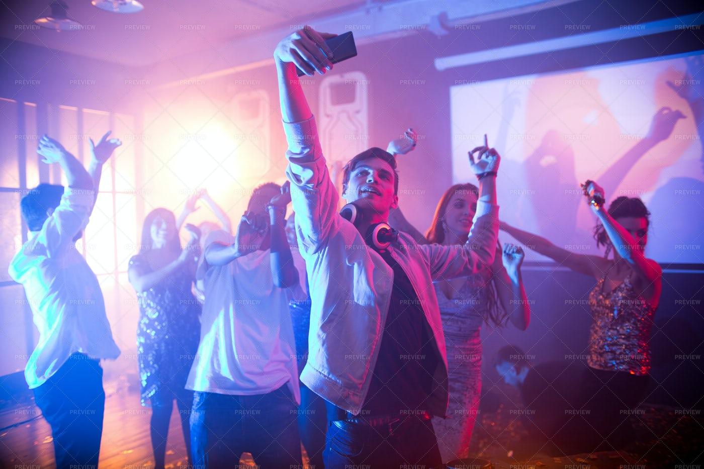 Teenager Taking Selfie On Dance...: Stock Photos