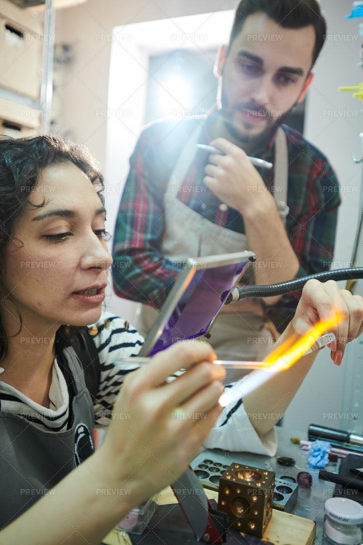 Two Artisans In Glassworking Studio: Stock Photos