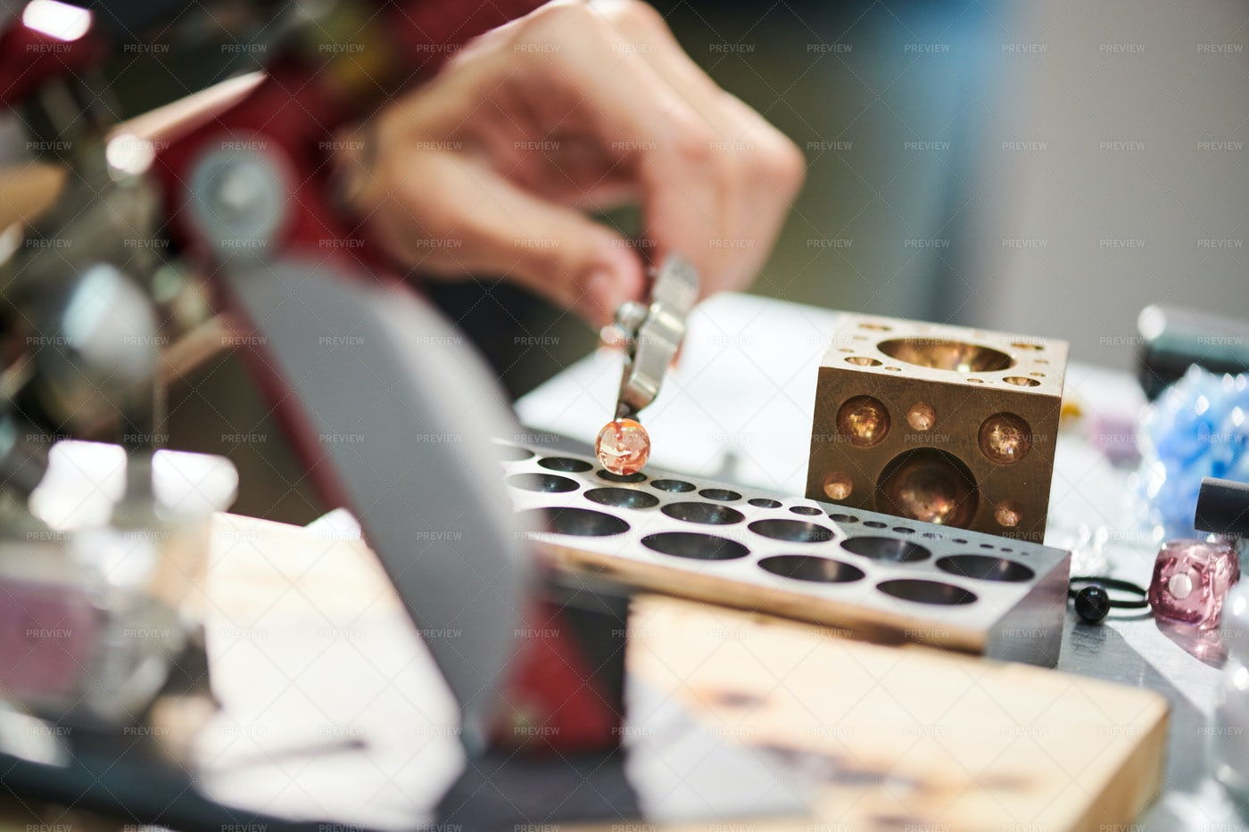 Artisan Forming Glass Beads: Stock Photos