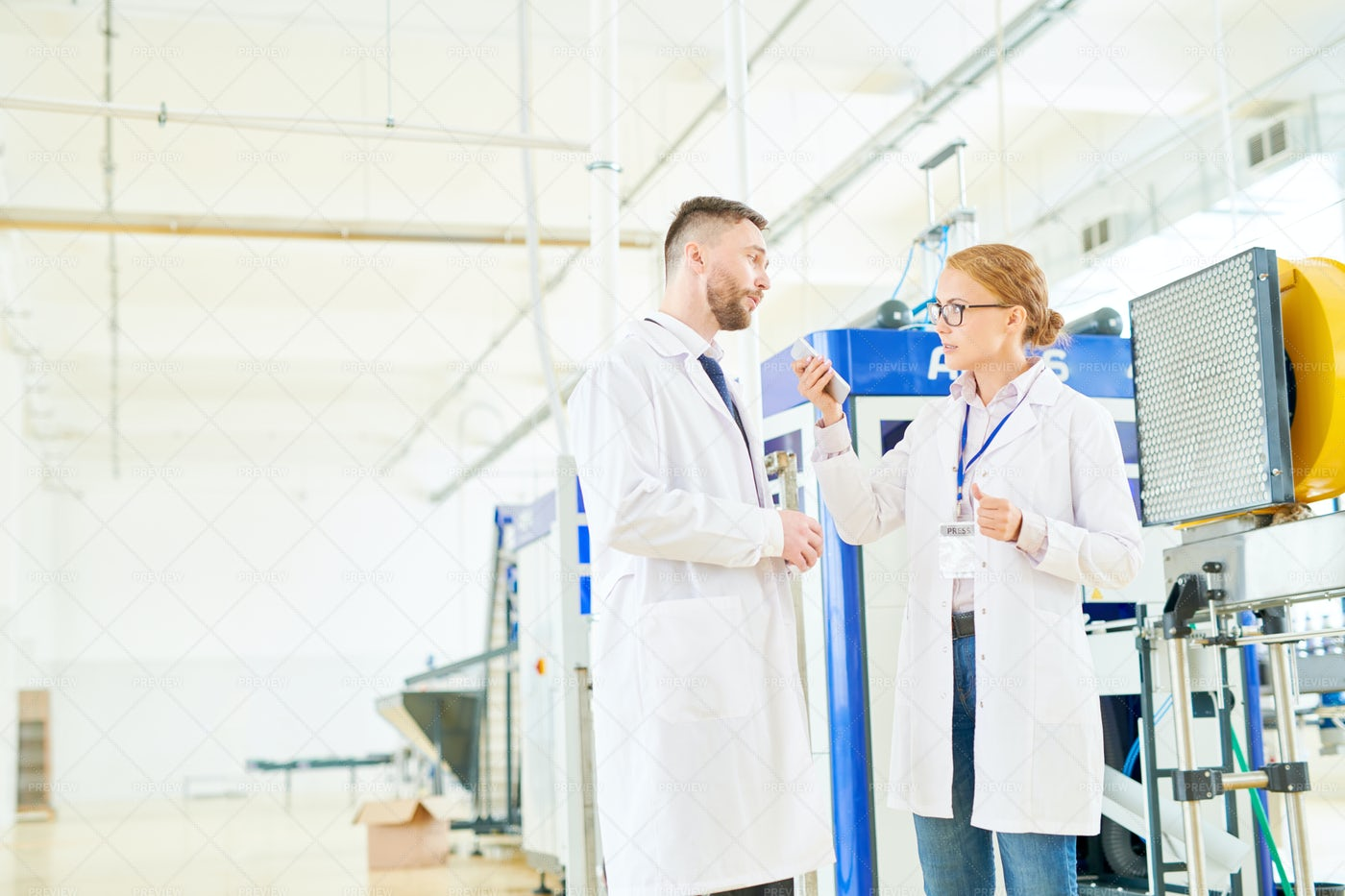 Interviewing Technologist Of Soy...: Stock Photos