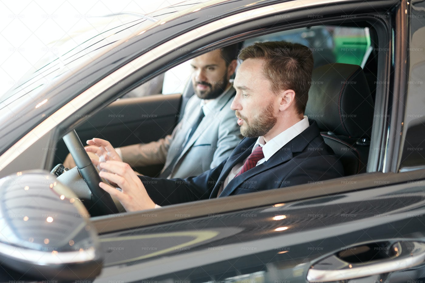 Male Driver With Instructor In Car: Stock Photos
