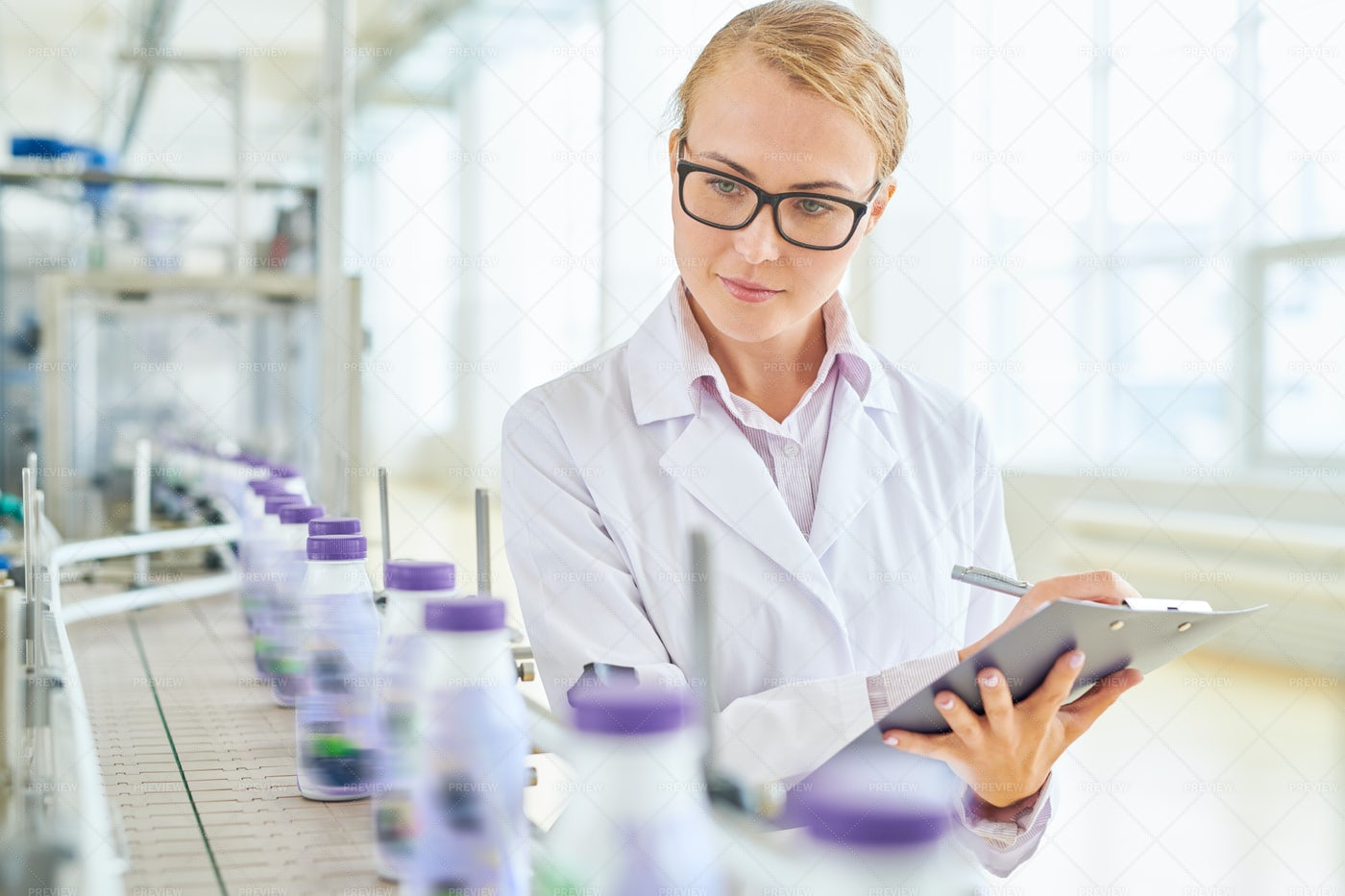 Pretty Technologist Wrapped Up In...: Stock Photos