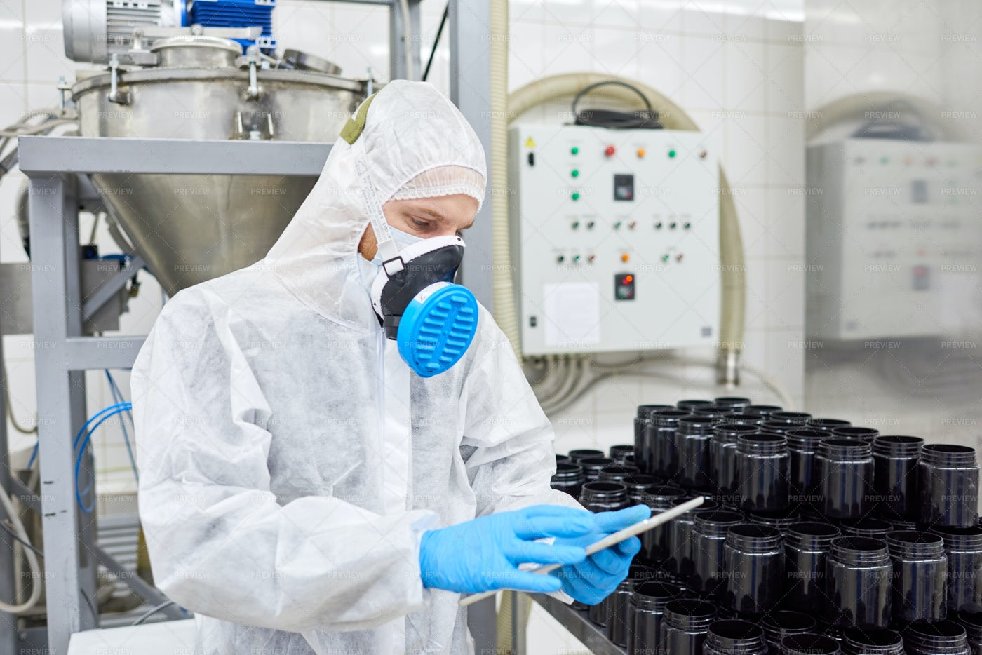 Taking Inventory In Pharmaceutical...: Stock Photos