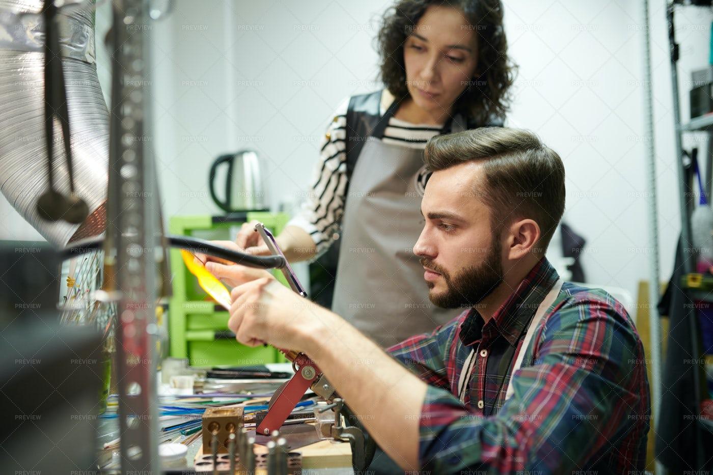 Artisans Doing Glasswork: Stock Photos