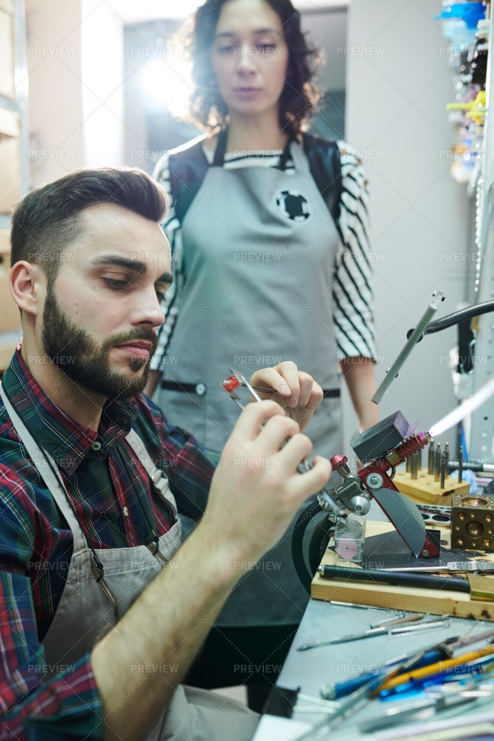 Male Artisan Doing Glasswork: Stock Photos