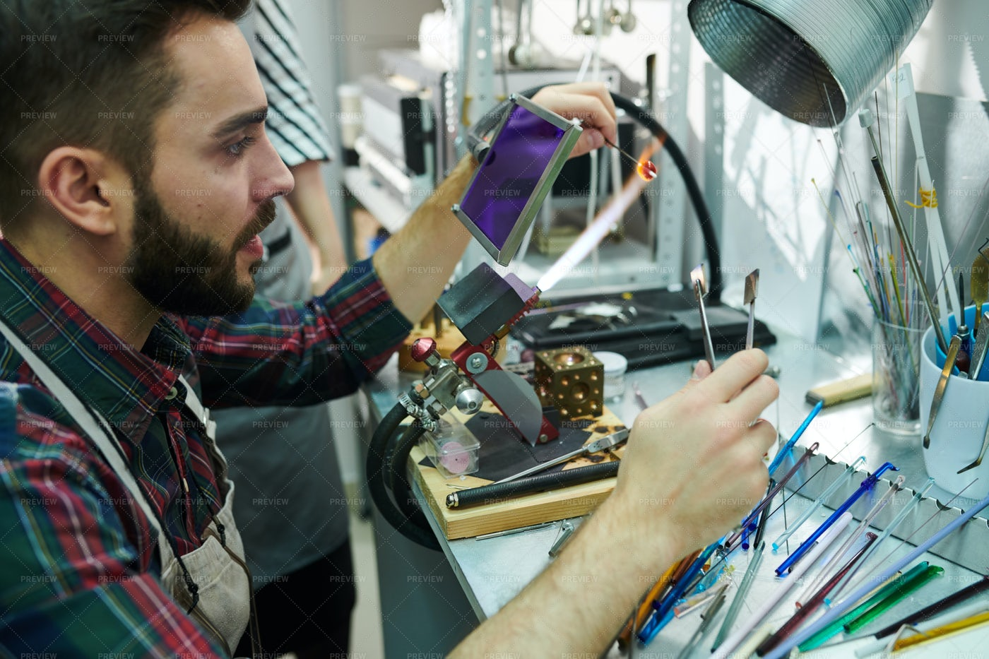 Man Doing Glasswork: Stock Photos