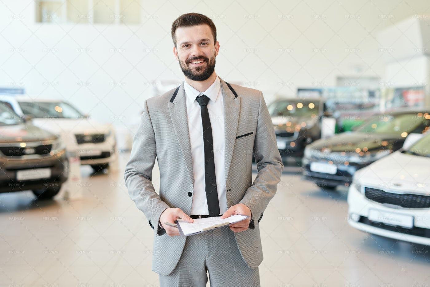Happy Salesman With Contract...: Stock Photos