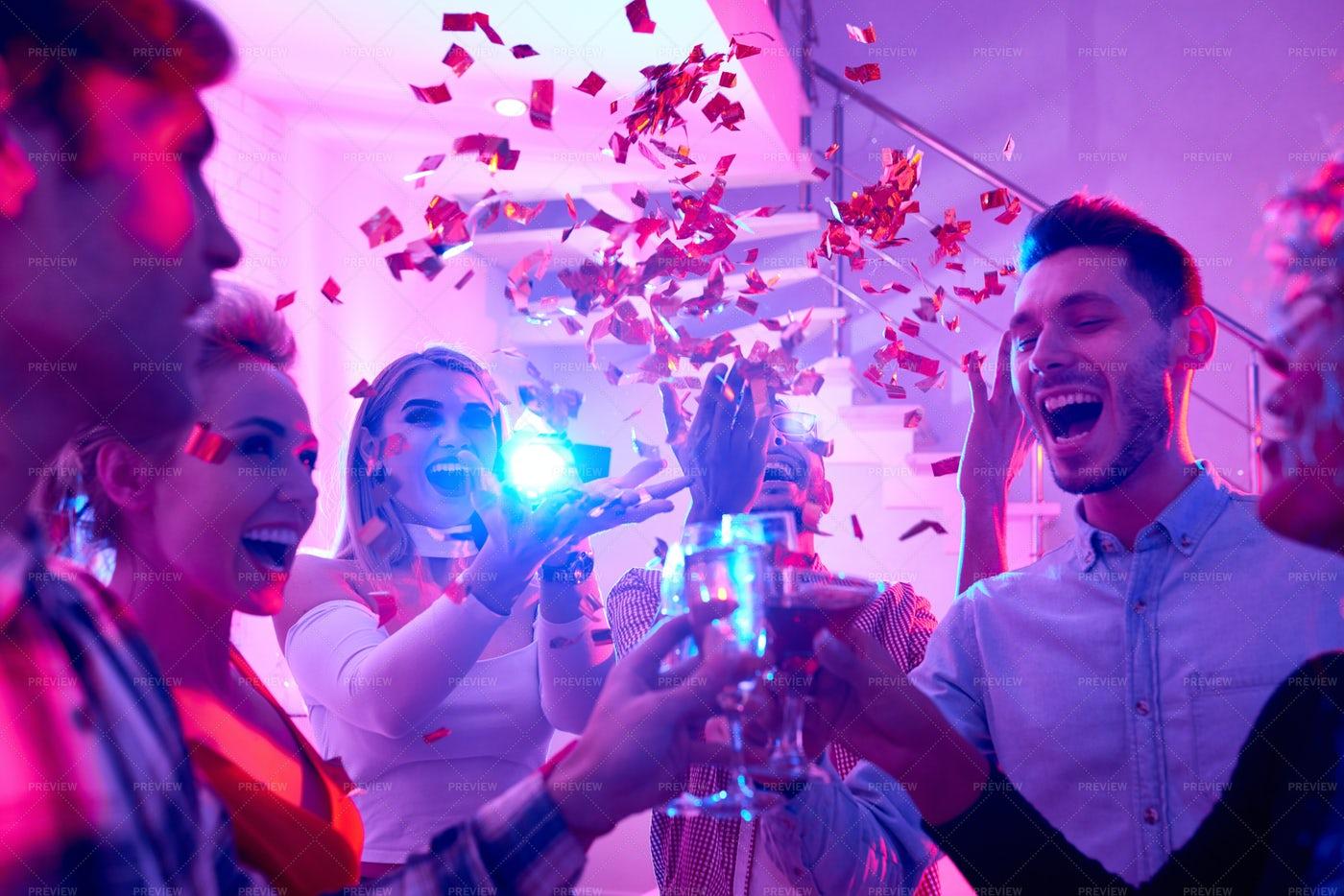 Holiday Celebration At Party: Stock Photos