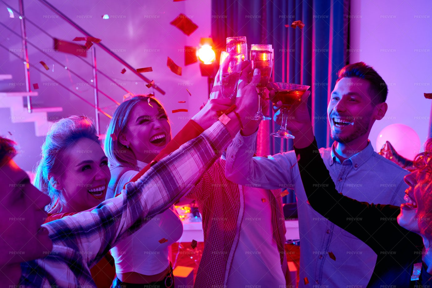 People Toasting At Great Party: Stock Photos
