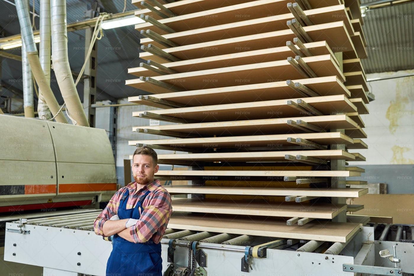 Handsome  Factory Worker Posing In...: Stock Photos