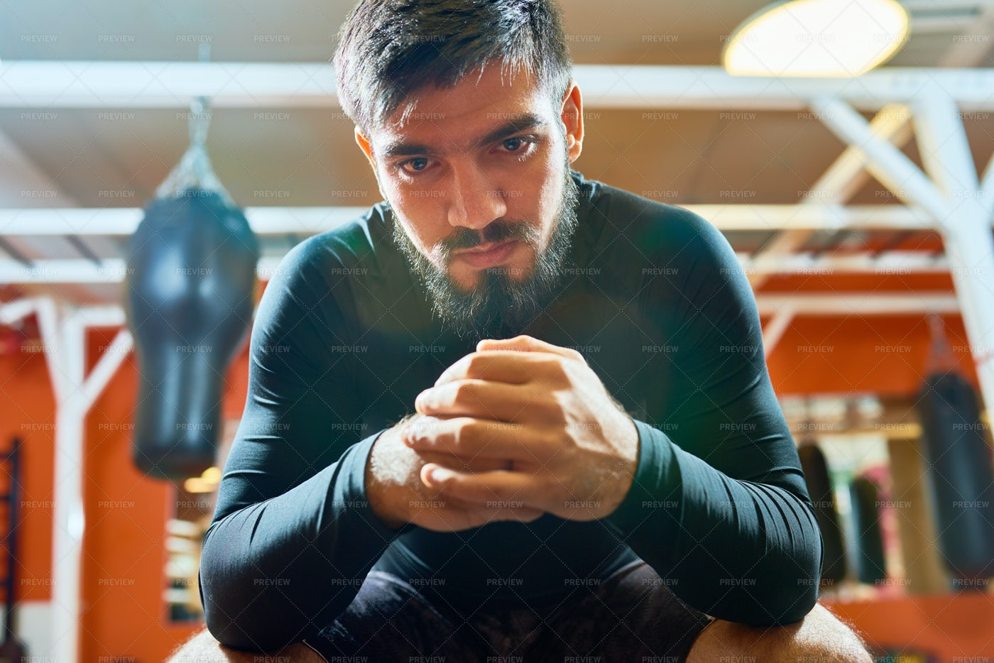 Brutal Bearded Sportsman In Boxing...: Stock Photos