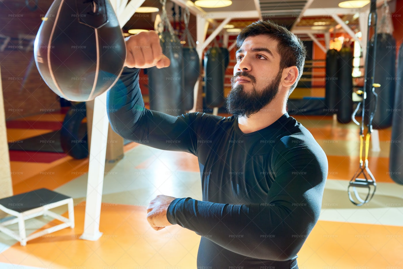 Bearded Boxer Punching Bag: Stock Photos