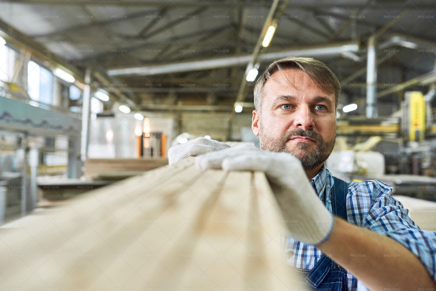 Mature Man Working In Joinery...: Stock Photos