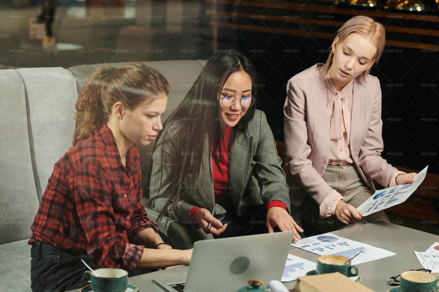Students Working With Financial...: Stock Photos