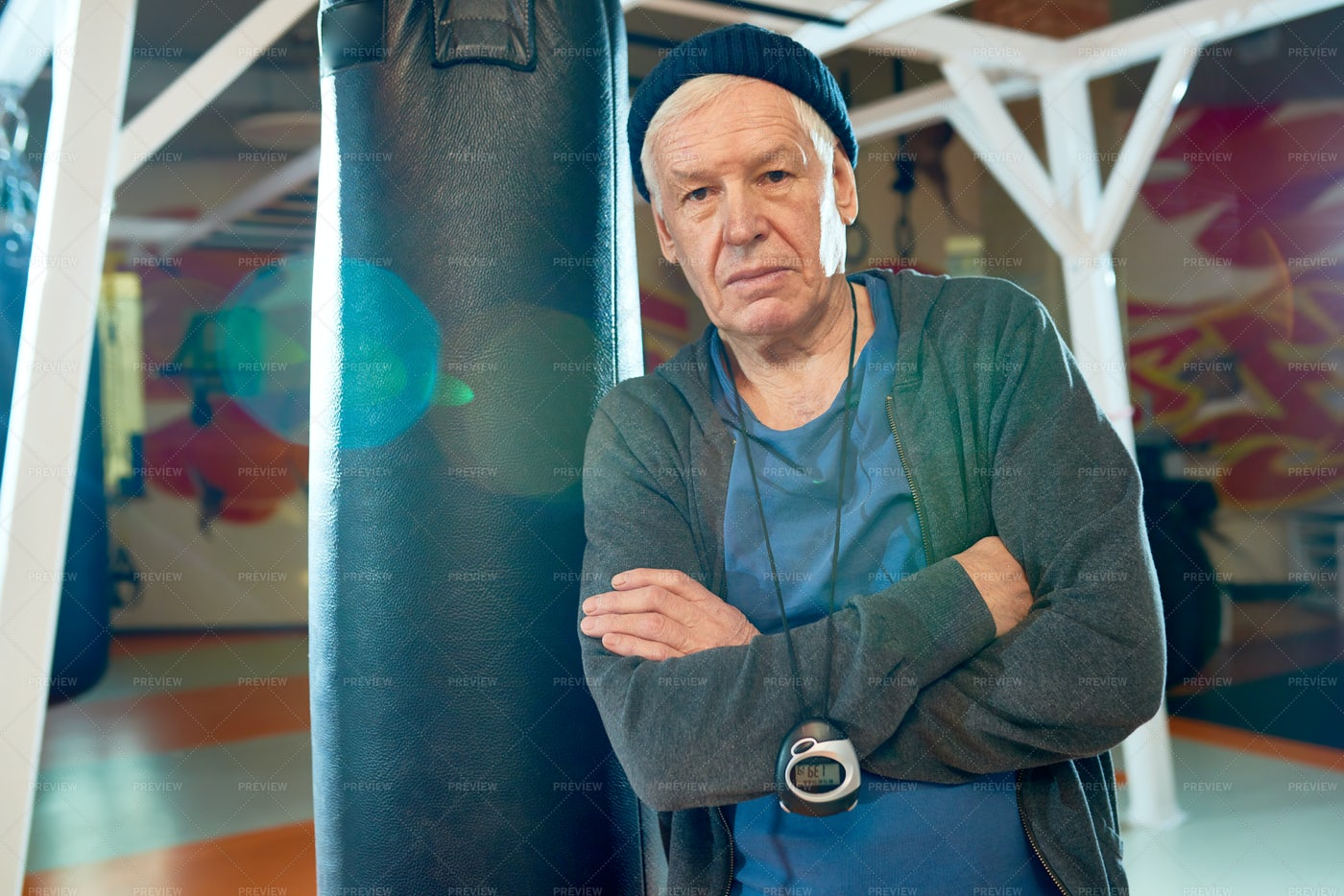 Professional Trainer In Boxing Gym: Stock Photos