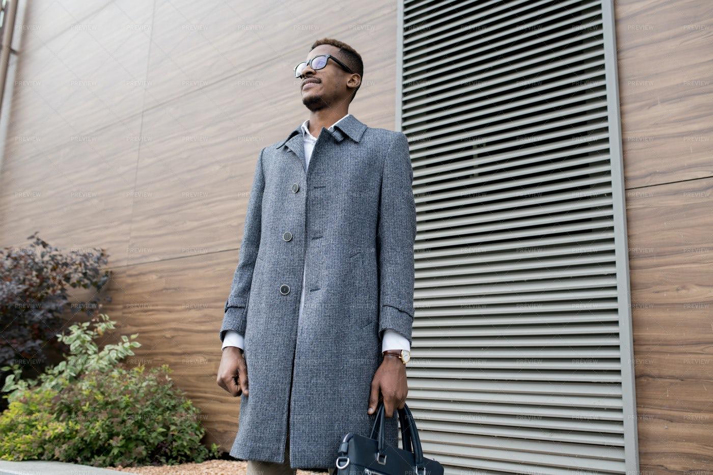 Pensive Stylish African Businessman...: Stock Photos
