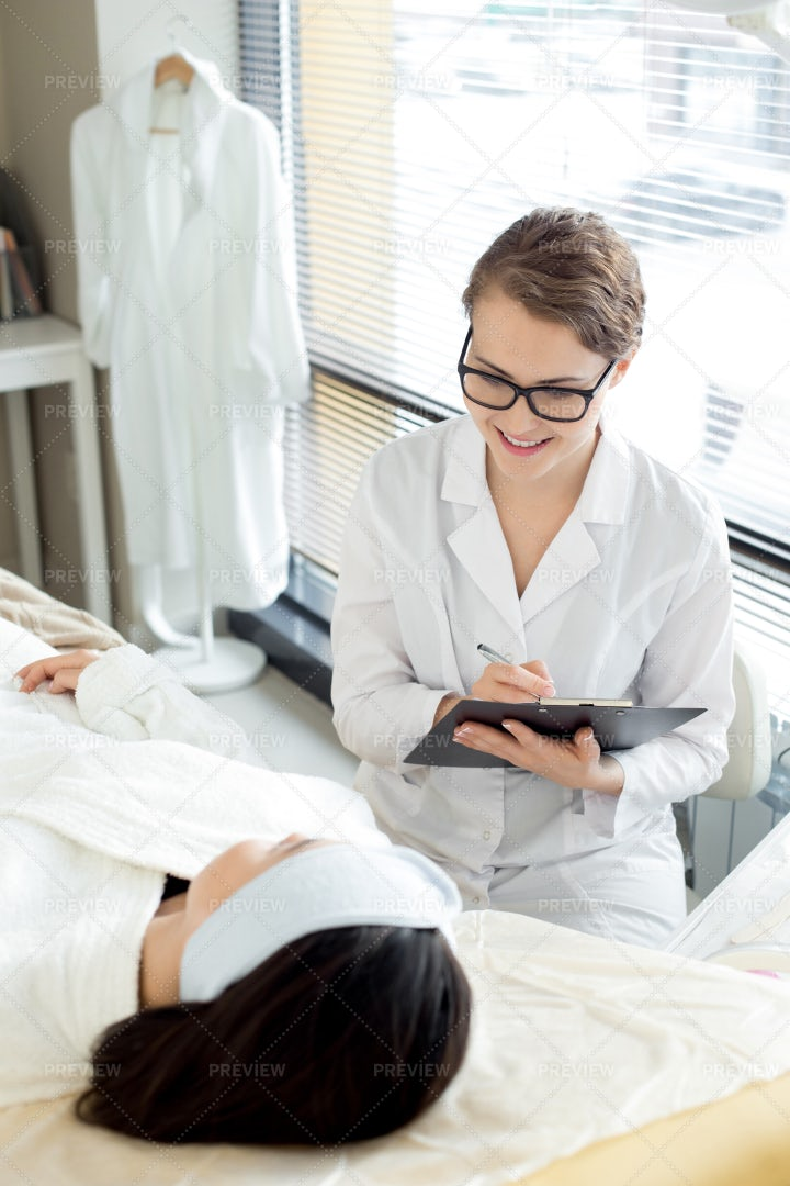 Pretty Beautician At Workplace: Stock Photos