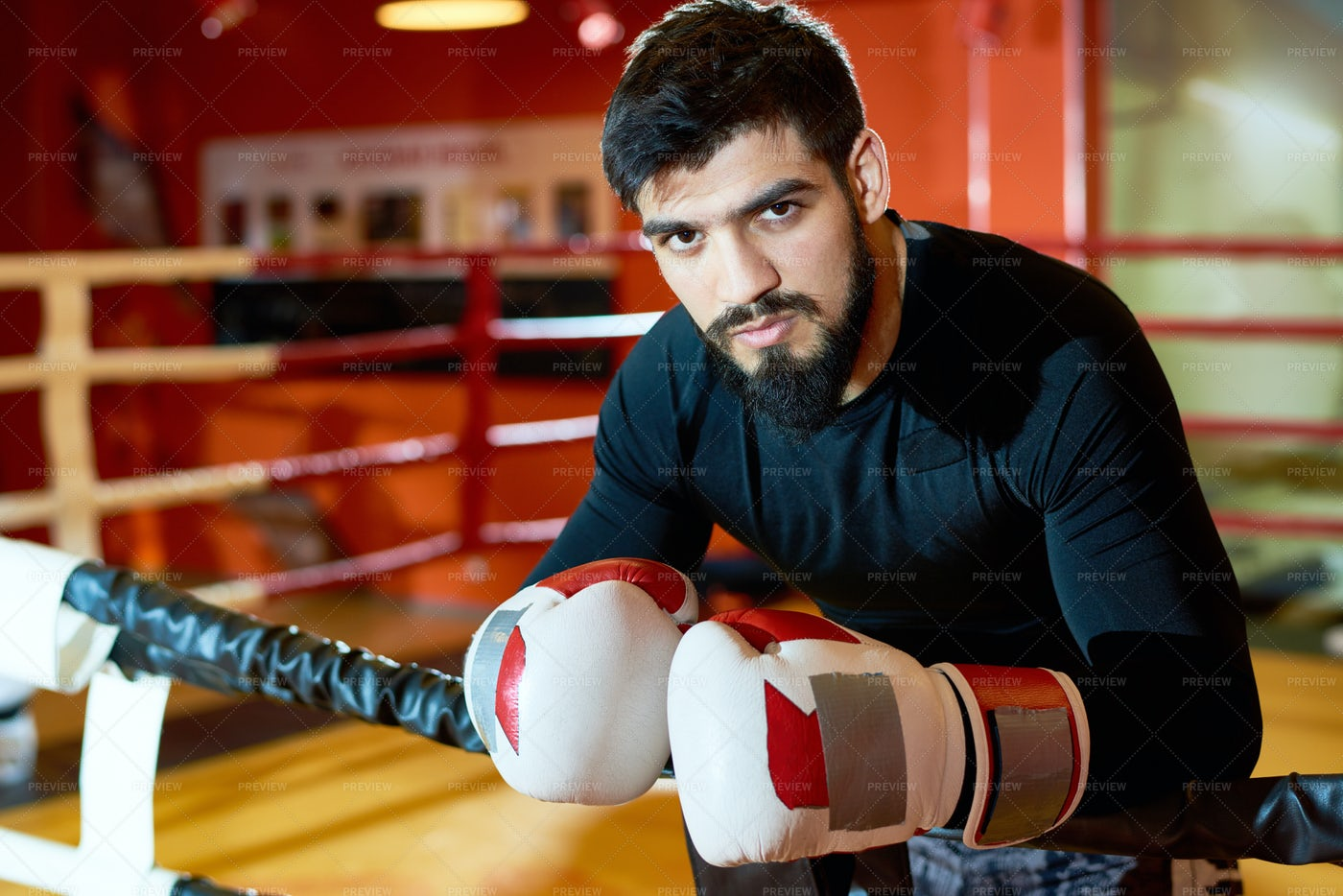 Handsome Brutal Boxer On Ring: Stock Photos