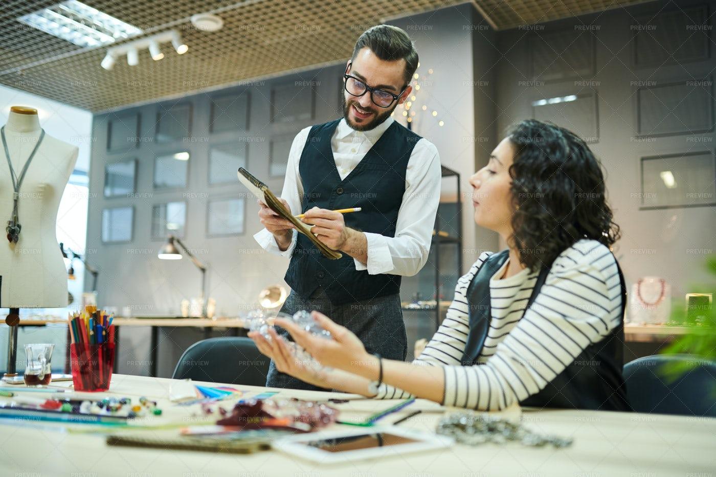 Two Designers Creating Luxury...: Stock Photos