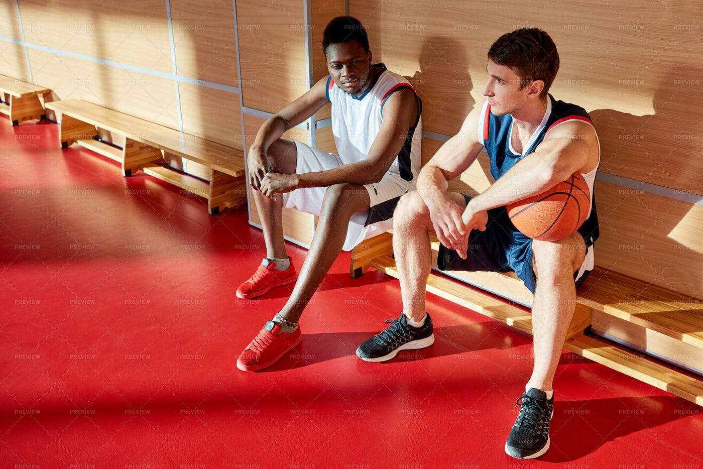 Sportsmen On Bench In Gym: Stock Photos