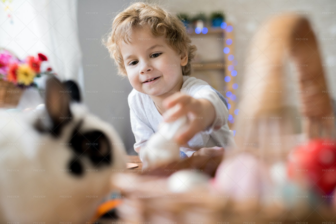 Cute Little Boy Playing With...: Stock Photos