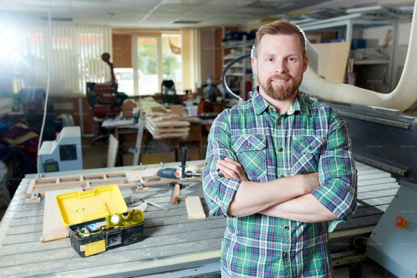 Carpenter In Woodworking Shop: Stock Photos