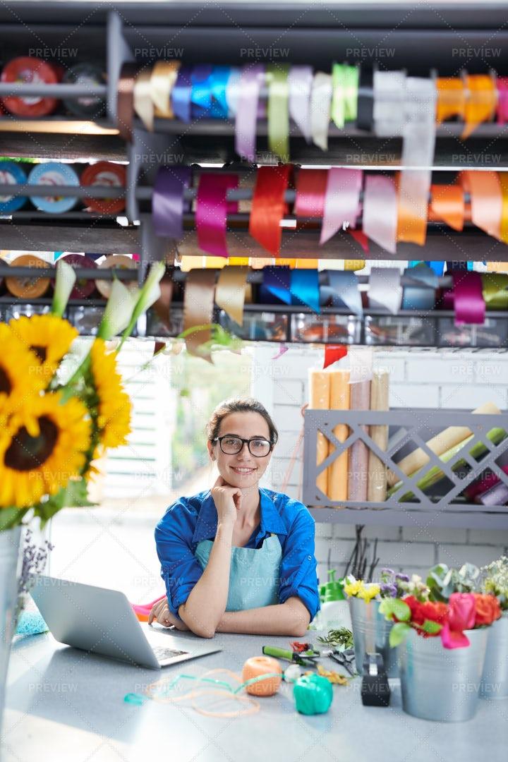 Female Flower Shop Owner: Stock Photos