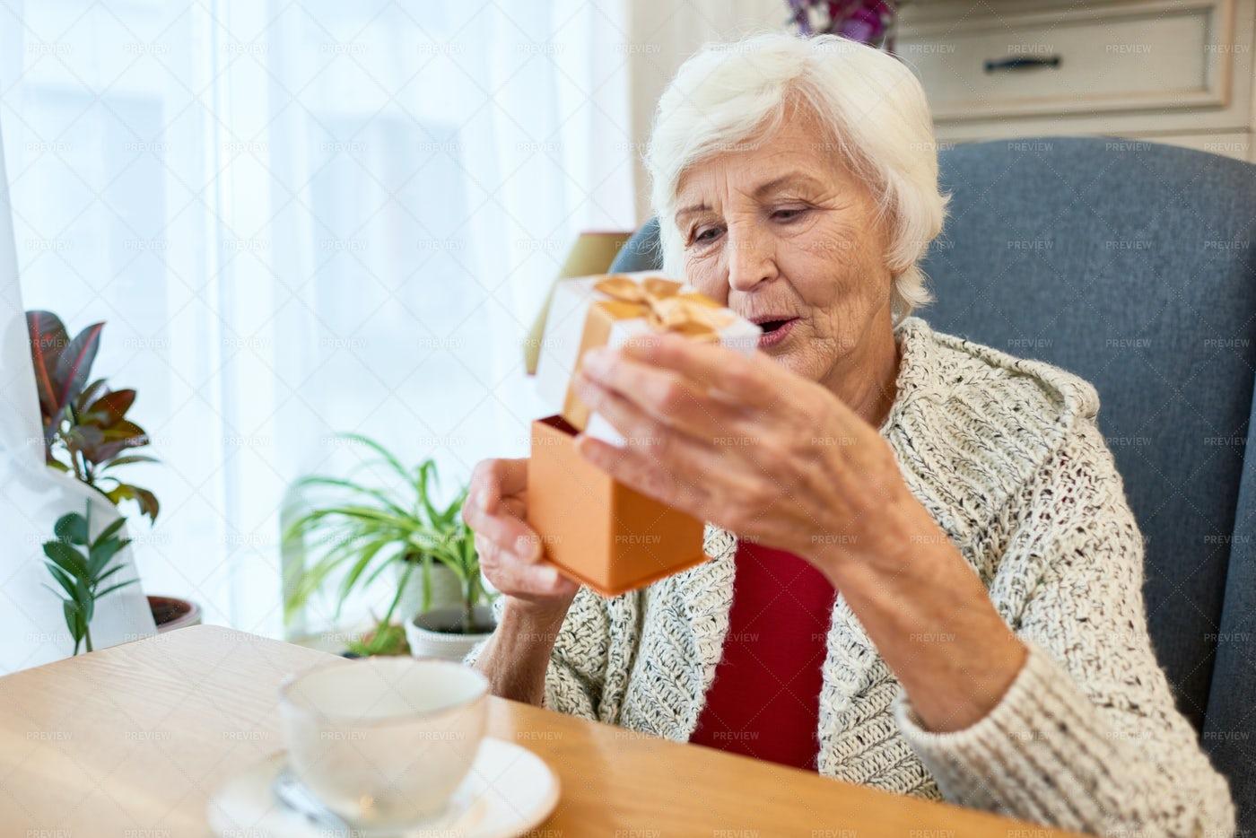 Pretty Senior Woman Celebrating...: Stock Photos