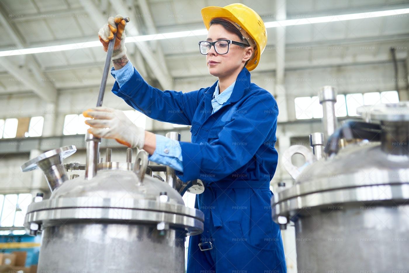 Modern Female Factory Worker: Stock Photos