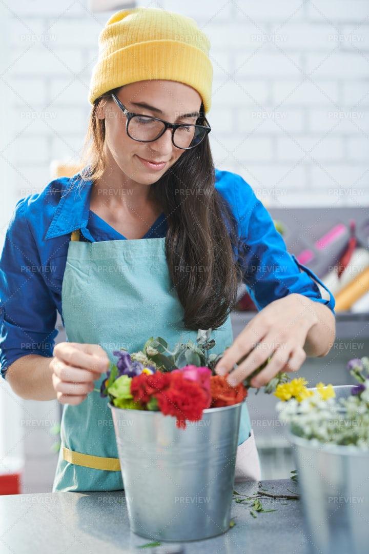 Creative Florist At Work: Stock Photos