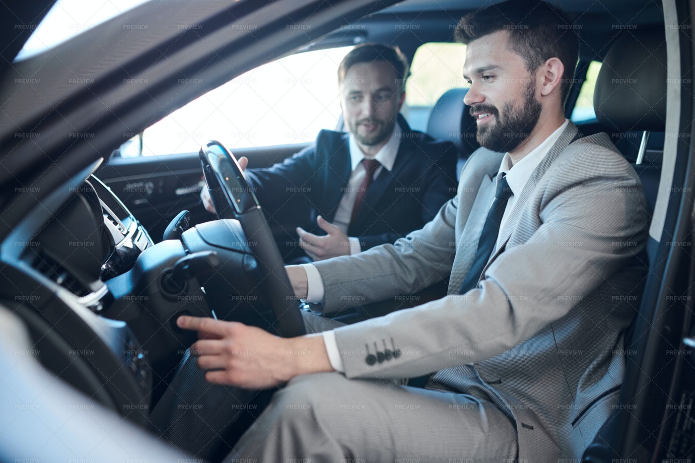 Businessman Testing New Car: Stock Photos