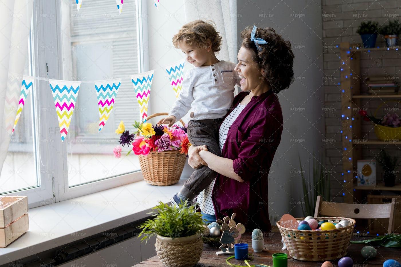 Loving Family On Easter: Stock Photos