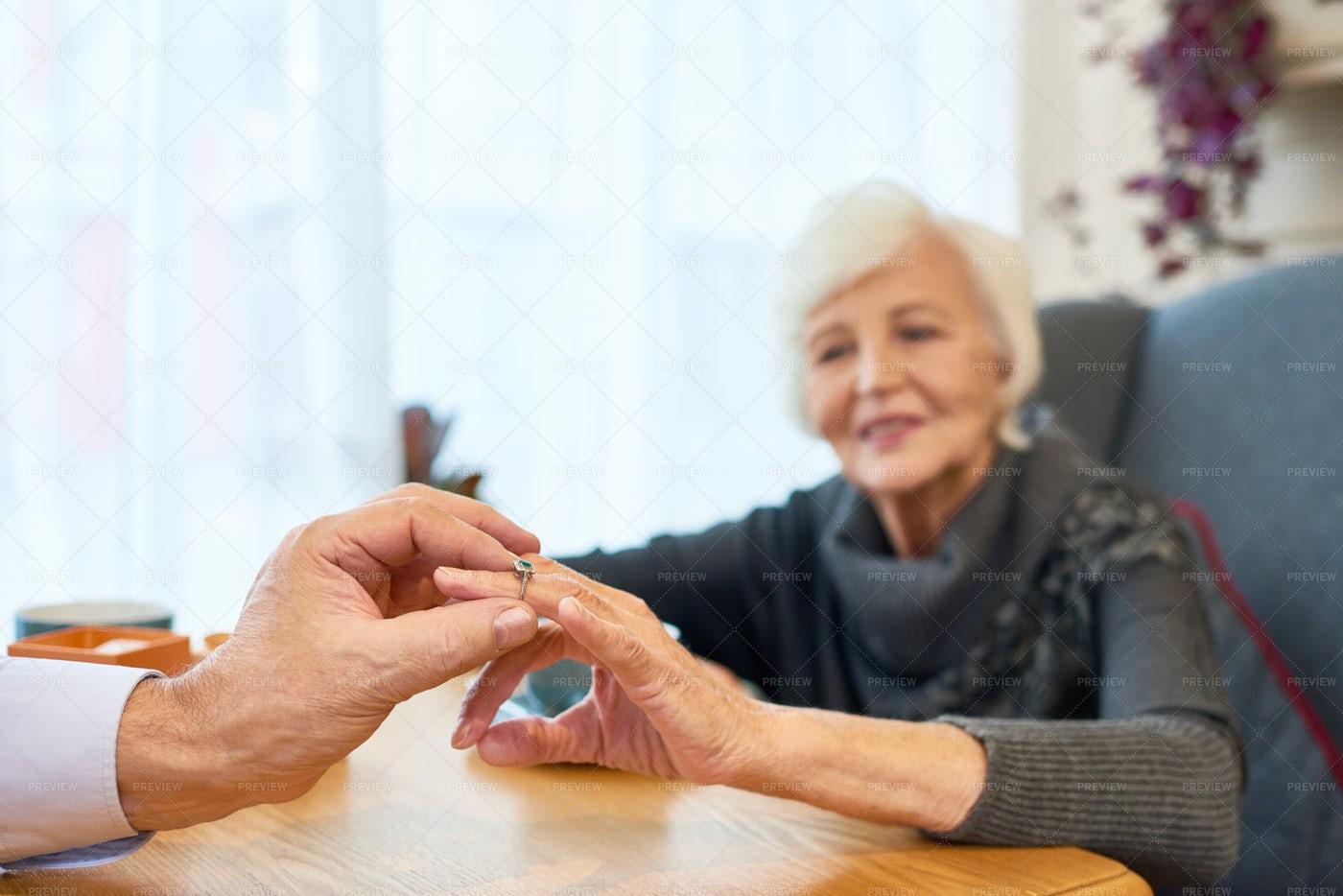 Engagement Of Loving Senior Couple: Stock Photos