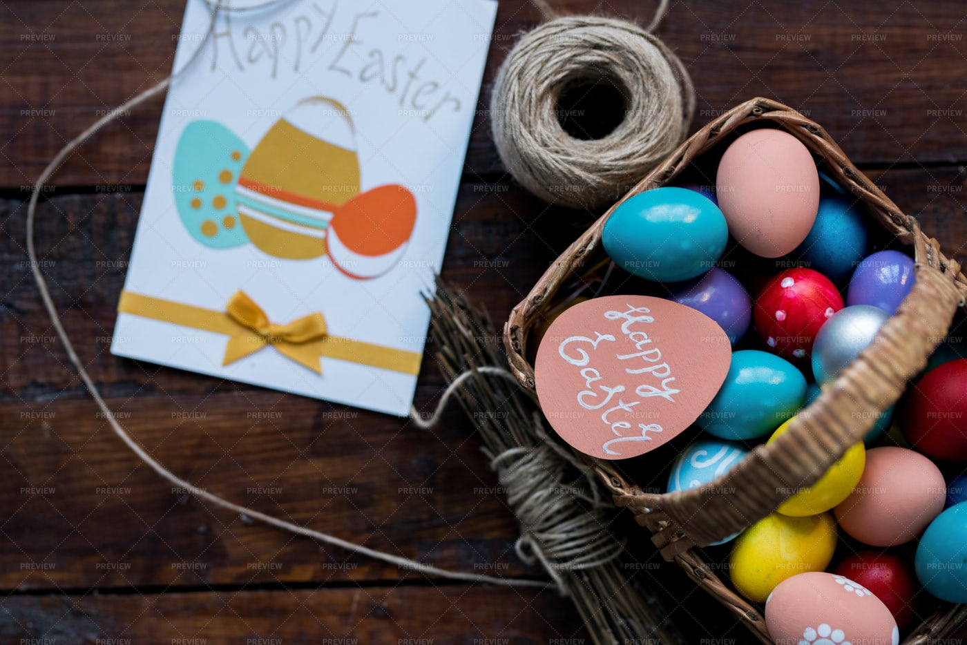 Easter Composition On Wooden Table: Stock Photos
