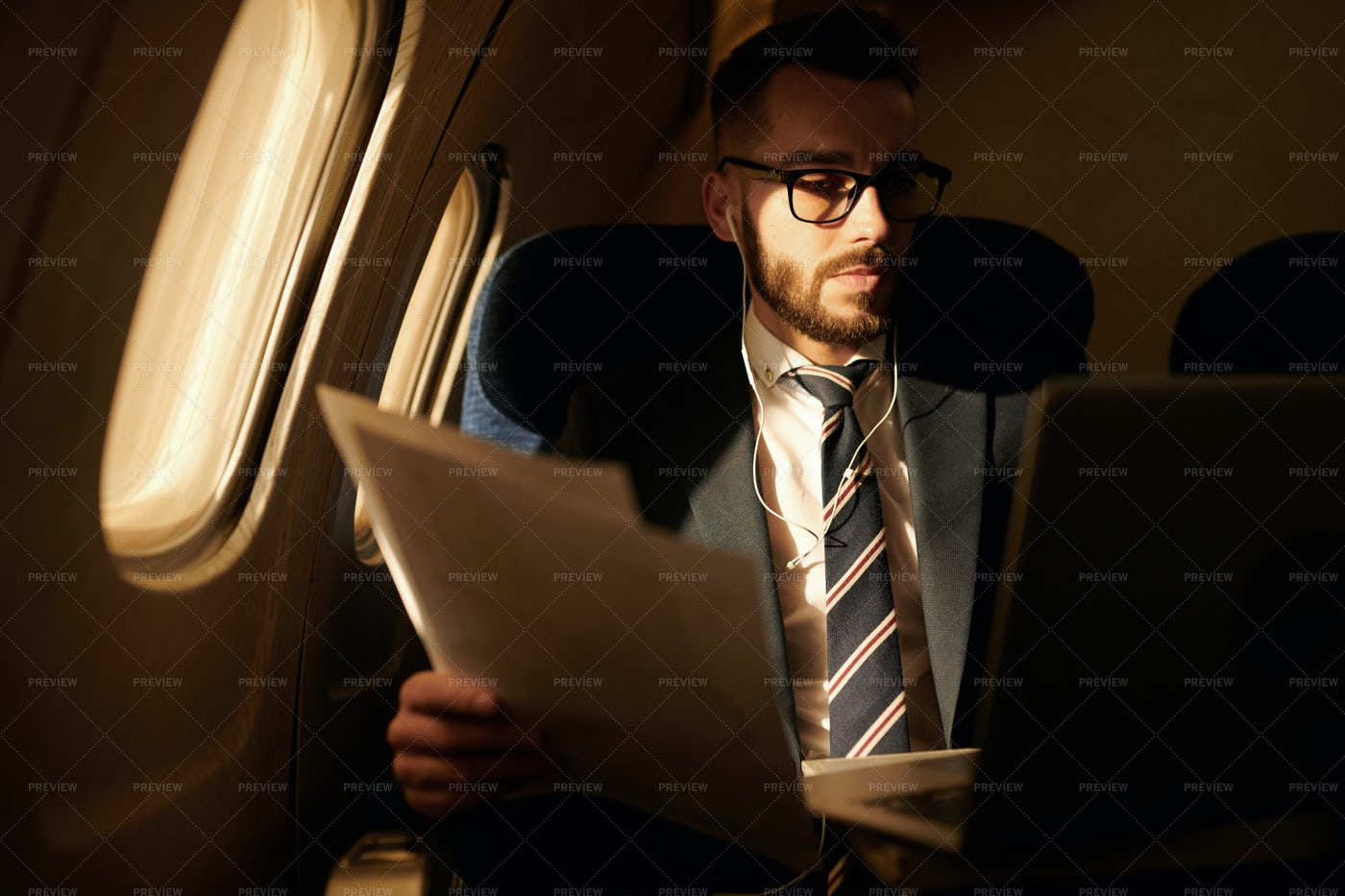 Businessman In Private Jet: Stock Photos