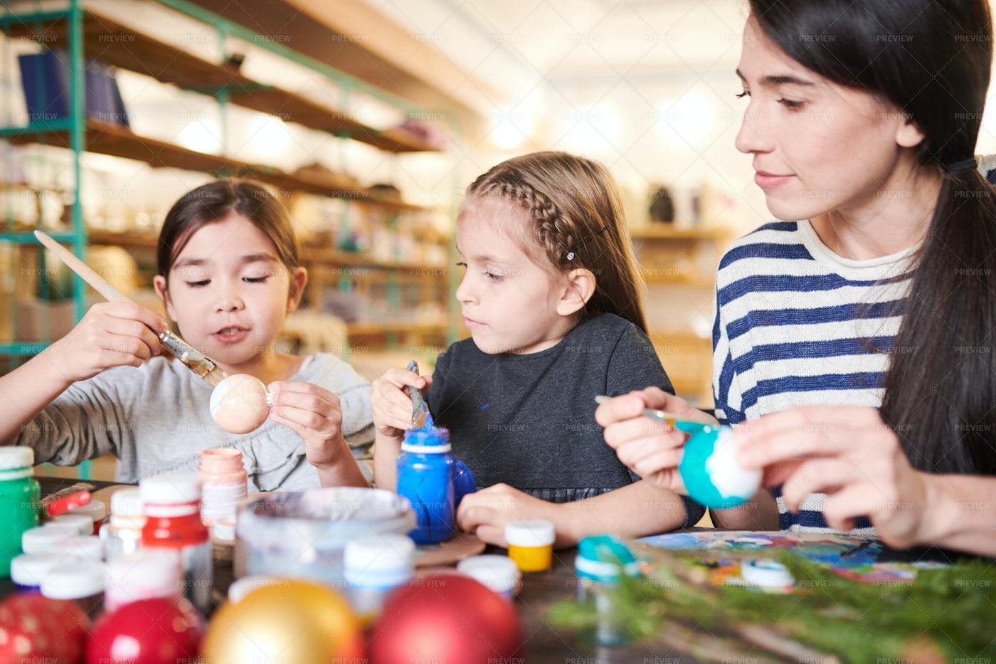 Little Girls  Making Handmade...: Stock Photos