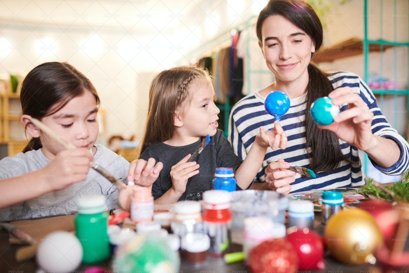 Family  Making Handmade Ornaments: Stock Photos