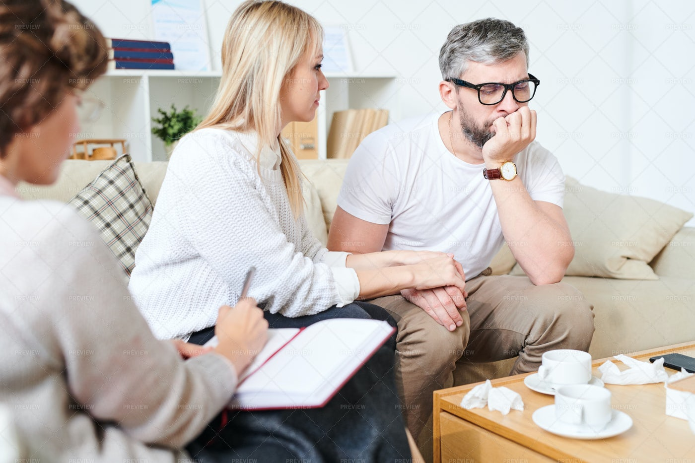 Sad Husband Supported By Wife...: Stock Photos