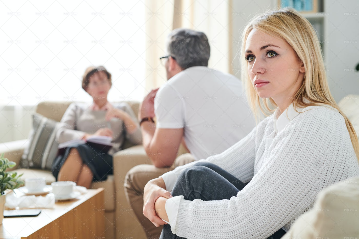 Sad Thoughtful Wife At Therapy...: Stock Photos
