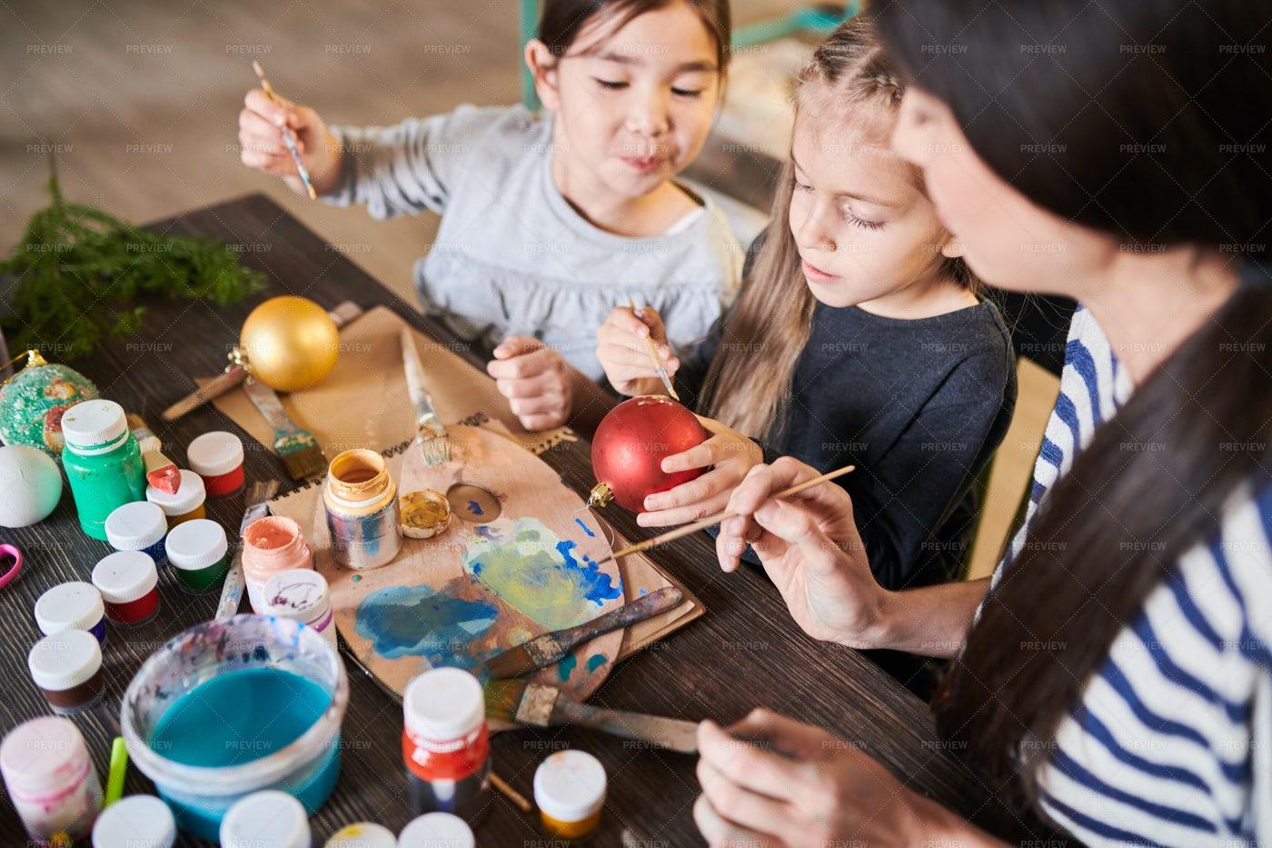 Children  Painting Christmas...: Stock Photos