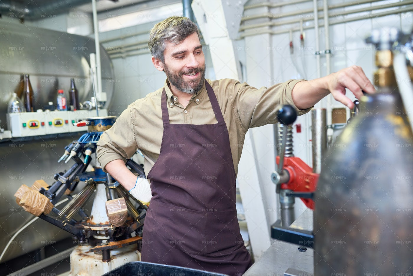 Cheerful Brewer At Work: Stock Photos