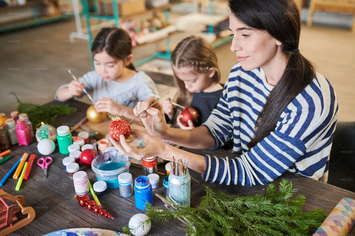 Kids Painting Handmade Christmas...: Stock Photos