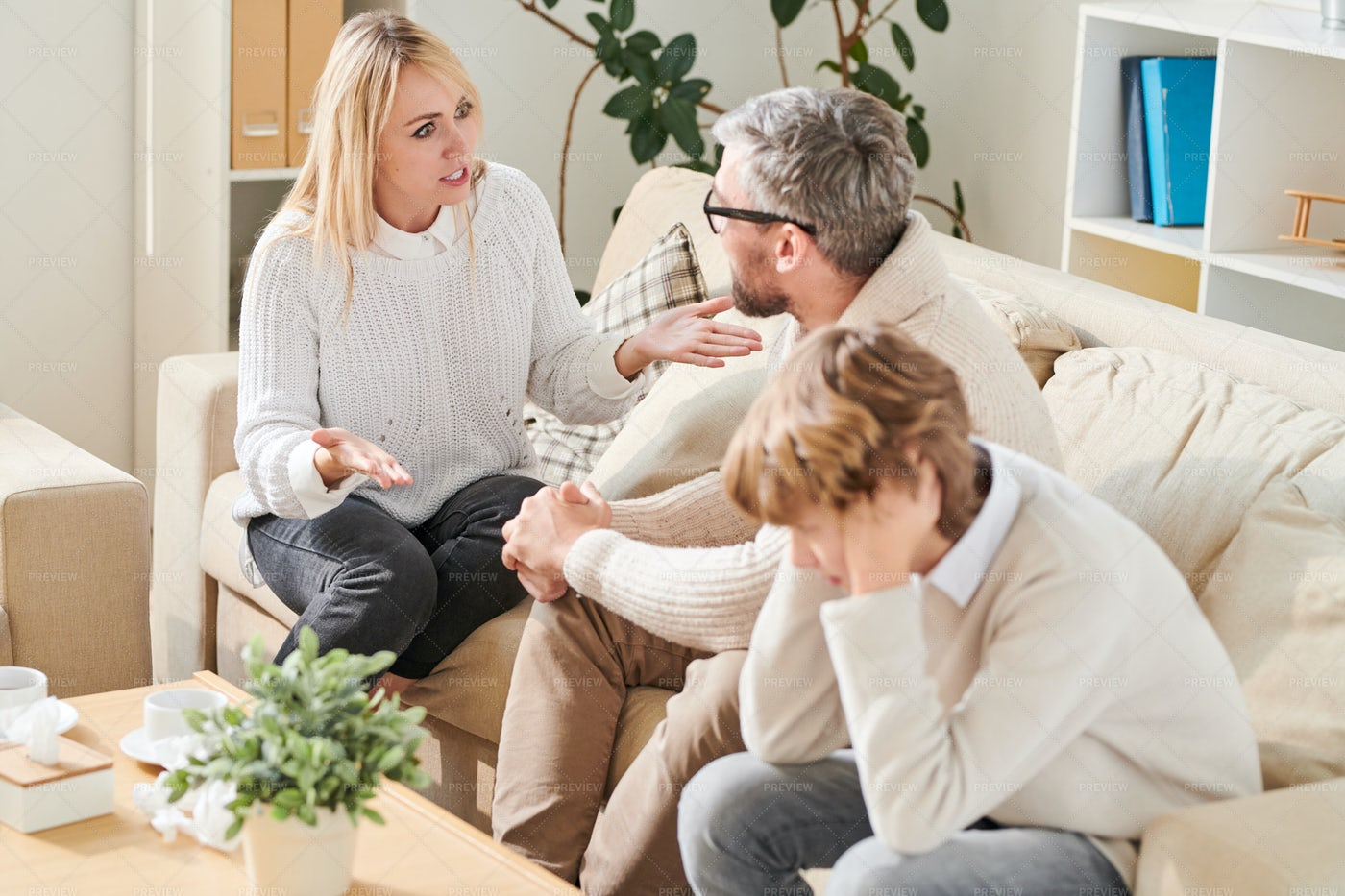 Angry Mother Screaming At Father...: Stock Photos