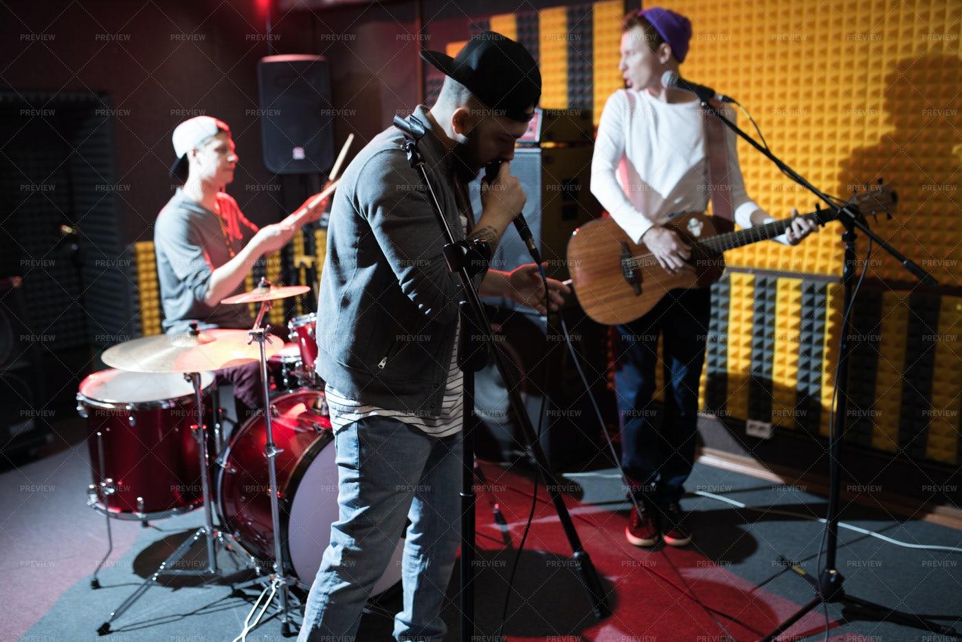 Music Band In Studio: Stock Photos