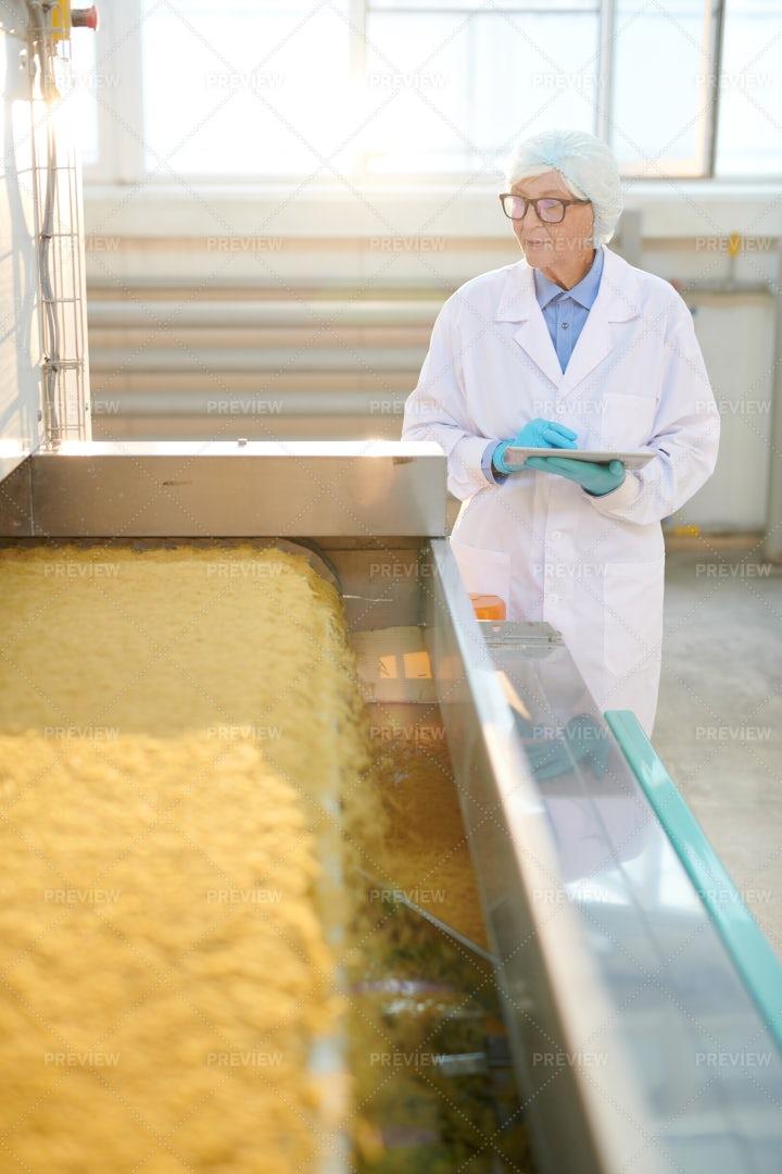 Senior Woman In Food Factory...: Stock Photos